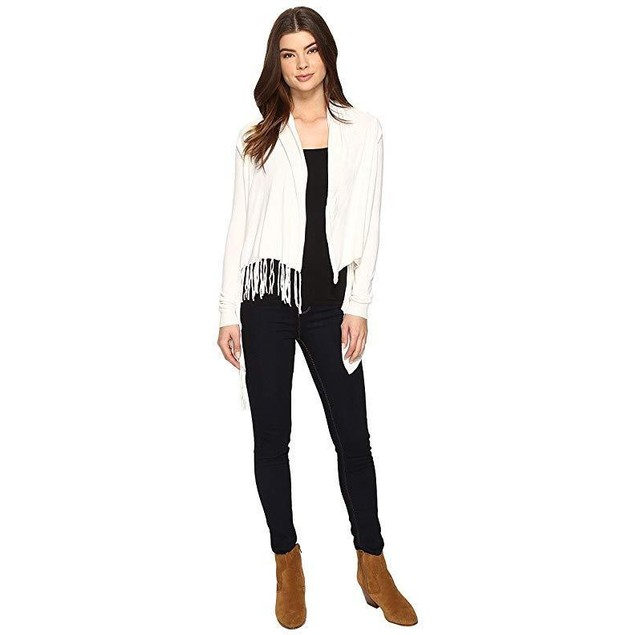 Christin Michaels Women's Evelyn Fringed Wrap Cardigan Ivory Sweater