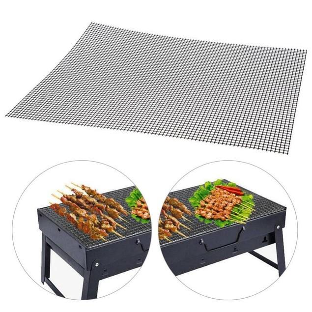 2-Pack BBQ Grill Mesh Mat - Reusable Teflon Barbecue Net Pad