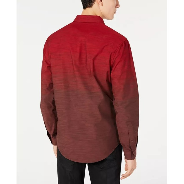 INC International Concepts Men's Heathered Ombre Shirt Red Size Large