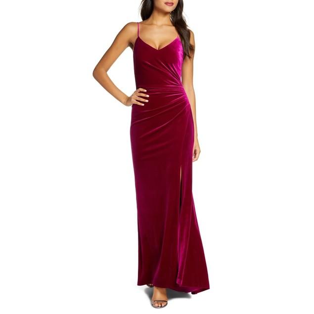 Vince Camuto Women's Draped Velvet Slit Gown Pink Size 12
