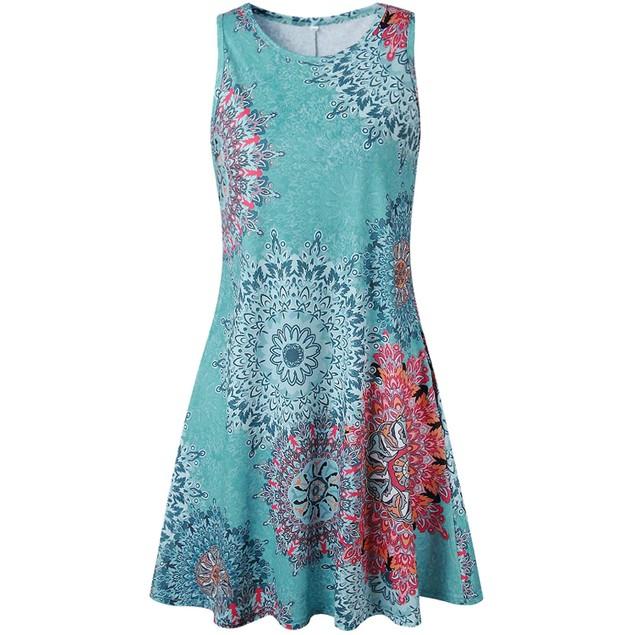 Women's Summer Sleeveless Damask Print Pocket Loose T-Shirt Dress