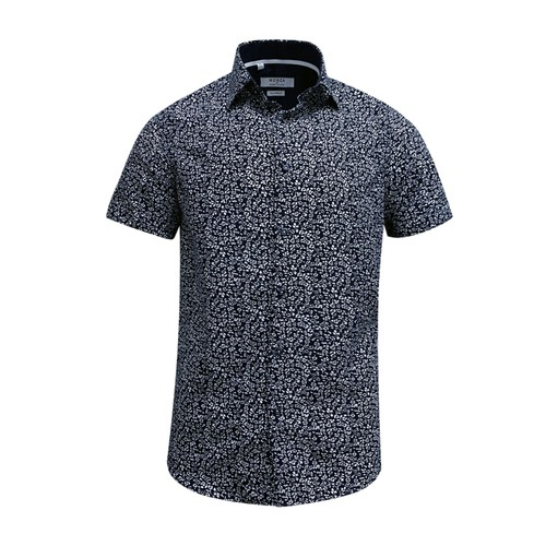 Monza Modern Fit Short Sleeve Dark Blue Floral Dress Shirt
