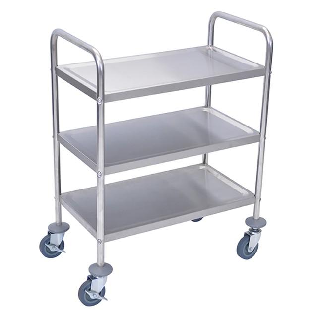 "Luxor 37"" Three Flat Shelves Utility Cart - Stainless Steel"