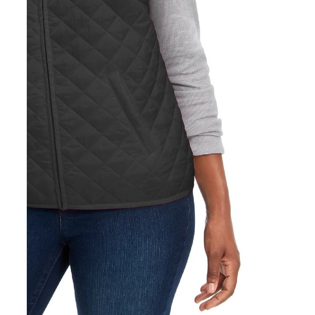 Karen Scott Women's Quilted Puffer Vest Black Size Petite Small