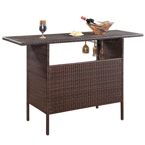 Costway Outdoor Rattan Wicker Bar Counter Table Shelves Garden Patio Furnit