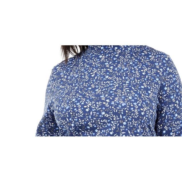 Karen Scott Women's Size Floral Print Mock Neck Top Navy Size 2X