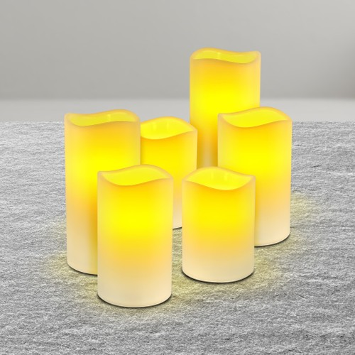 Flameless Led Wax Pillar Candles Set Of 6 W. Remote
