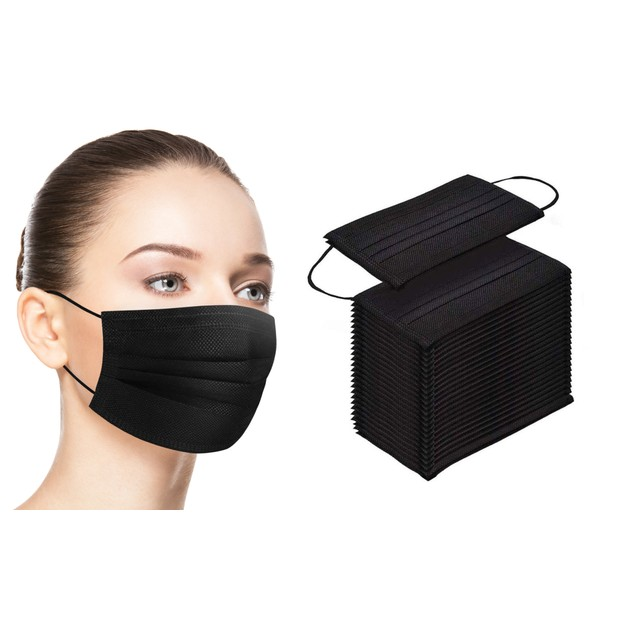 Black 3-Ply Non-Medical Face Masks (10-Pack to 200-Pack)