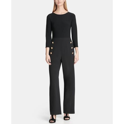 DKNY Women's 3/4 Sleeve Sailor Pant Combo Jumpsuit Black Size 12