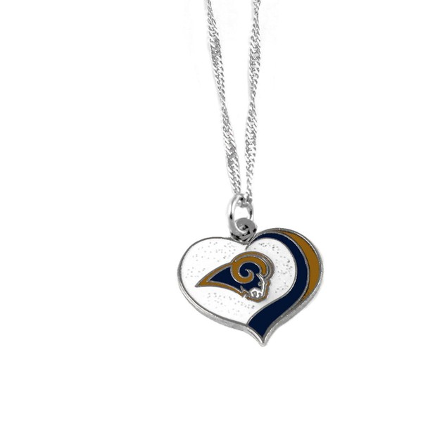 Los Angeles Rams NFL Glitter Heart Necklace Charm Gift