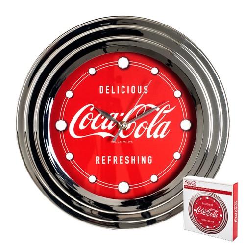Coca-Cola Clock w/ Chrome Finish Delicious Style 12 inch