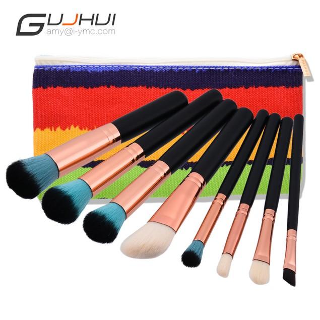 8pcs Makeup Brushes set Fondation Eyeshadow Cosmetic Tool with Leather 97