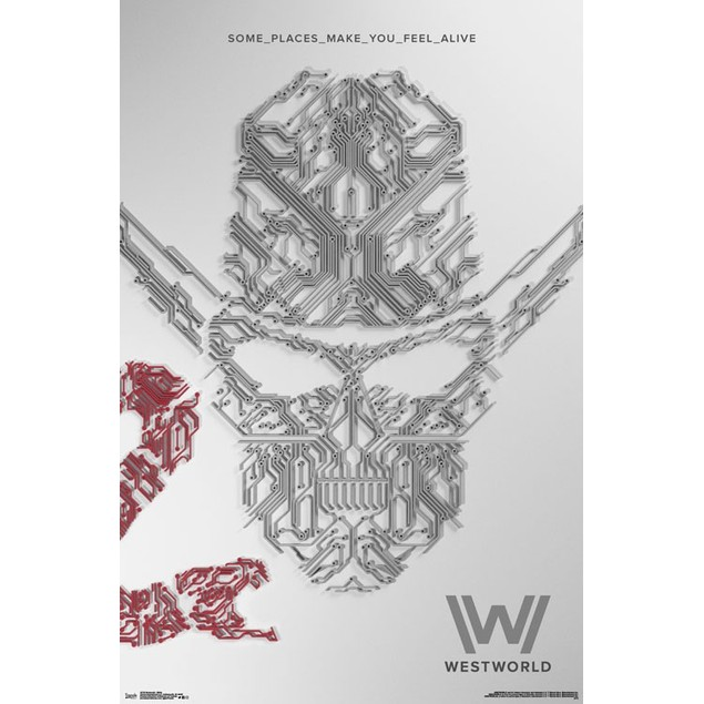 "Westworld Some Places Make You Feel Alive Wall Poster 22.375"" x 34"" White"