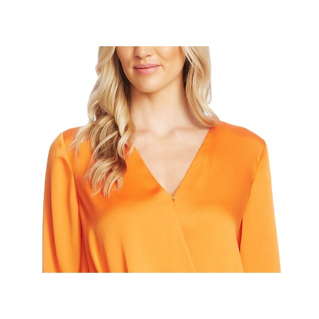 Vince Camuto Women's Faux-Wrap Satin Blouse Orange Size Extra Large
