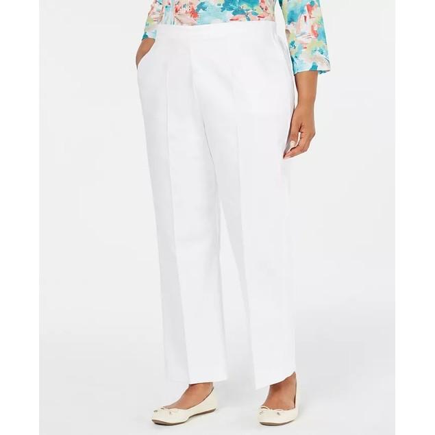 Alfred Dunner Women's Cayman Islands Straight Leg Pants White Size 16