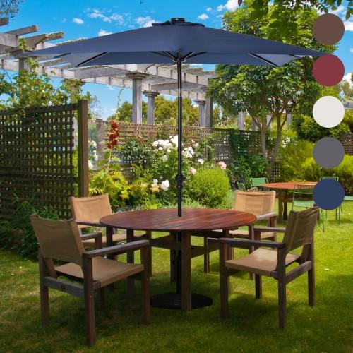 8.8' x 6.7' Backyard Deck Parasol w/ Lights, Charging Battery, & 45° Tilt