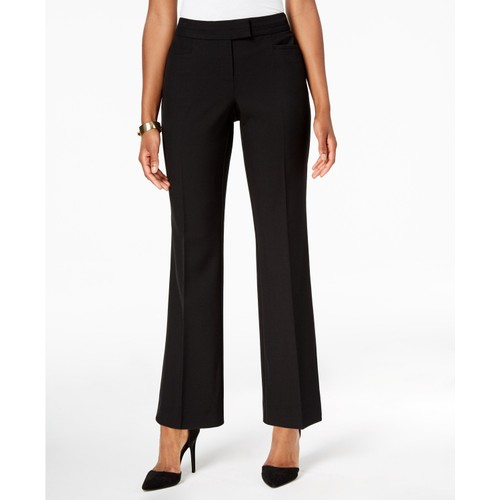 JM Collection Women's Petite Extended-Tab Trousers  Black Size 16