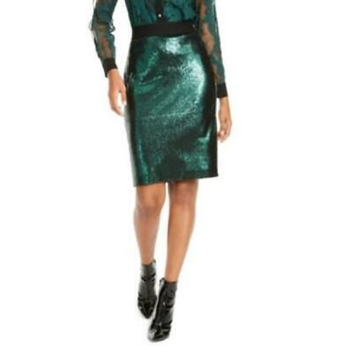 Thalia Sodi Women's Sequined Skirt Green Size Small