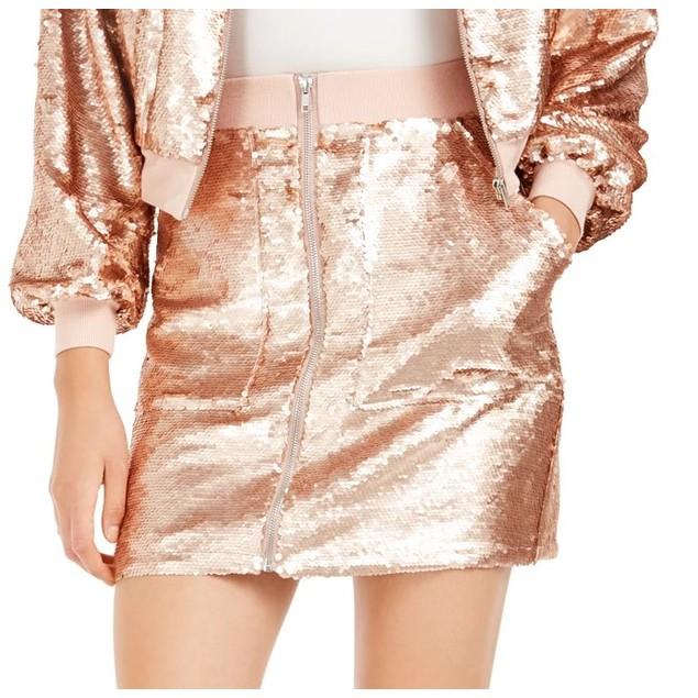 Bar III Women's Becca Tilley x Sequin Utility Skirt Pink Size Medium