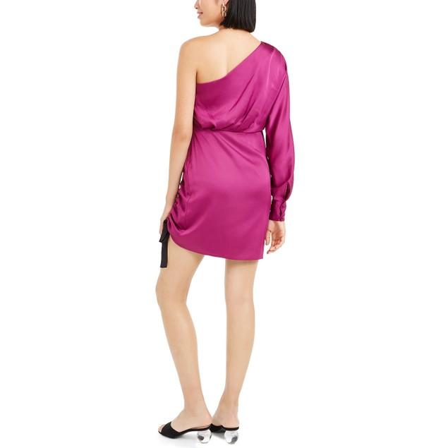 Bar III Women's One Shoulder Ruched Sheath Dress Pink Size 12