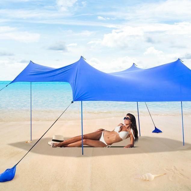 Costway Family Beach Tent Canopy w/ 4 Poles Sandbag Anchors 7'x7' UPF50+ Bl