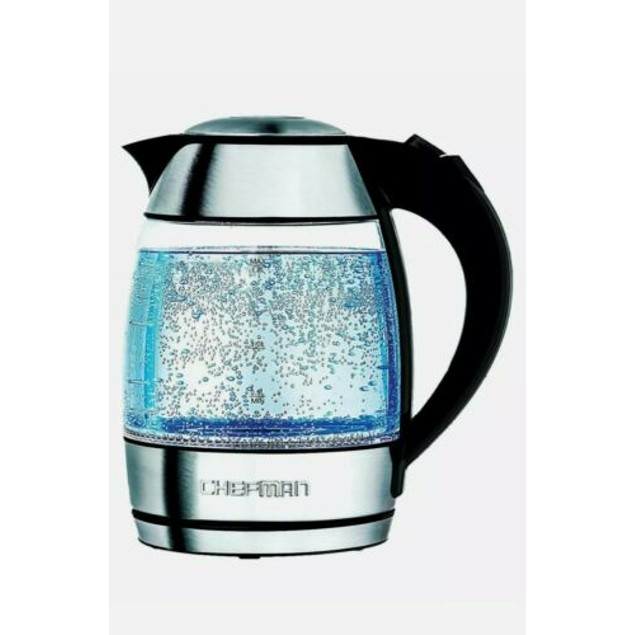 Chefman Electric Glass Kettle, Fast Boiling Water Heater w/ LED Lights