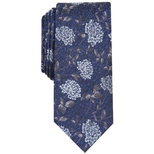 Bar III Men's Hydrangea Skinny Floral Tie Navy Size Regular