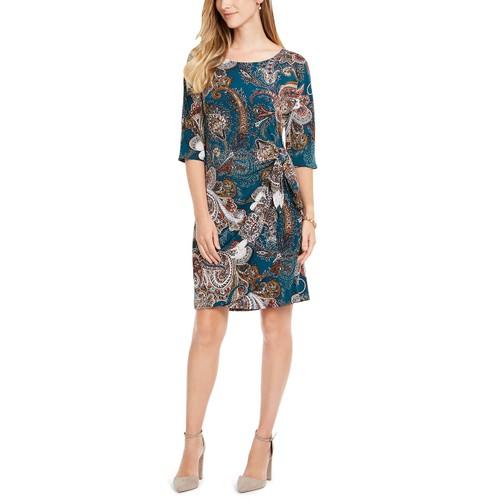 Robbie Bee Women's Petite Printed Side-Tie Sarong Dress Blue Size Petite