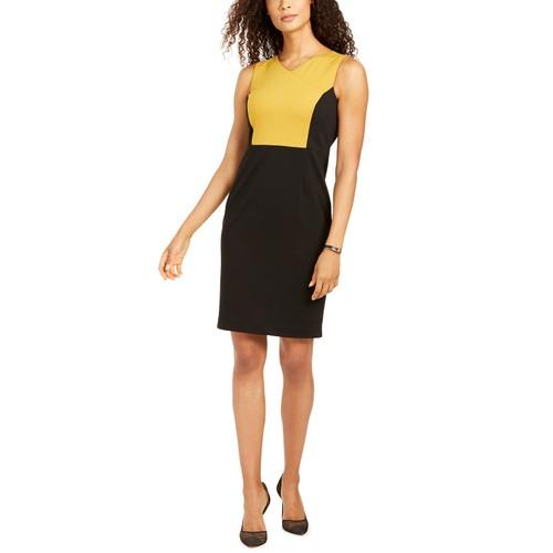 Kasper Women's Colorblocked Sheath Dress Black Size 16