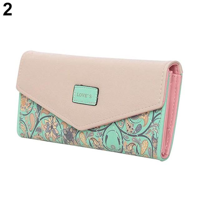 Women Trifold Envelope Faux Leather Wallet