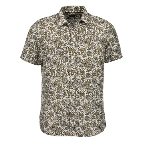 Rosso Milano Modern Fit Short Sleeve Gold Paisley Floral Dress Shirt