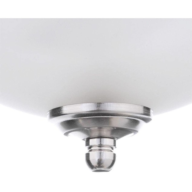 """Commercial Electric 13"""" 2 Light Brushed Nickel Frosted Glass Flush Mount"""