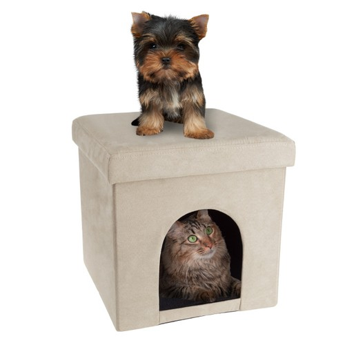 Pet House Ottoman- Collapsible Multipurpose Cat or Small Dog Bed Cube