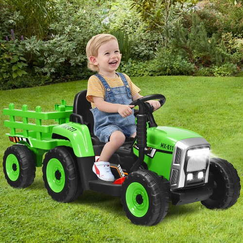 Costway 12V Kids Ride On Tractor with Trailer Ground Loader w/ RC & Lights