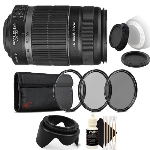Canon EF-S 55-250mm f/4-5.6 IS II Lens + 58mm UV CPL ND Kit + Tulip Lens Hood + Rear & Front Cap + 3pc Cleaning Kit