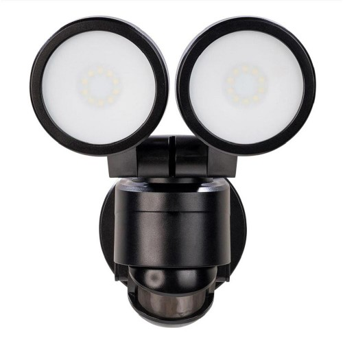 Defiant 180° Activated Outdoor Integrated LED Twin Head Flood Light, Black