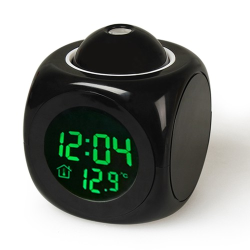 LCD Projection Alarm Clock Battery Powered with Voice Broadcast
