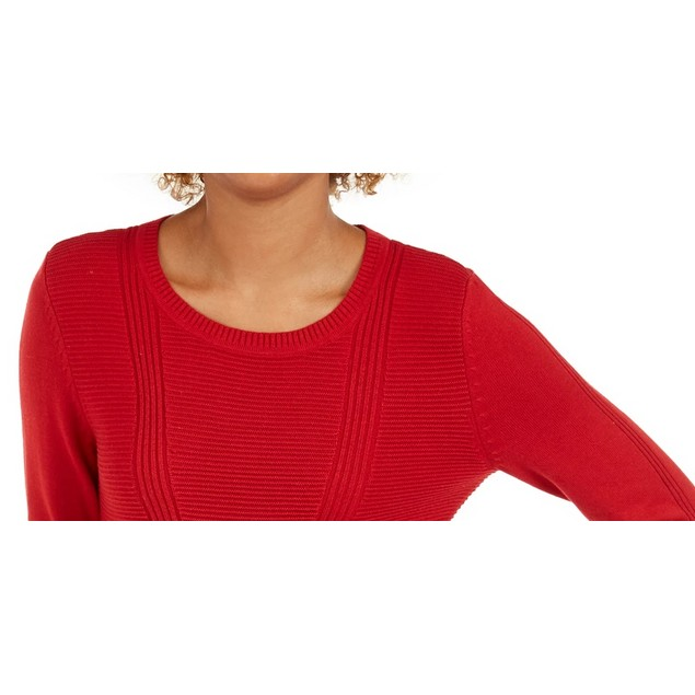 Style & Co Women's Mixed Stitch Sweater Red Size Medium
