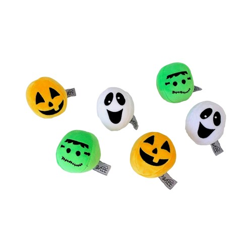 Midlee Silly Face Halloween Balls Plush Dog Toy