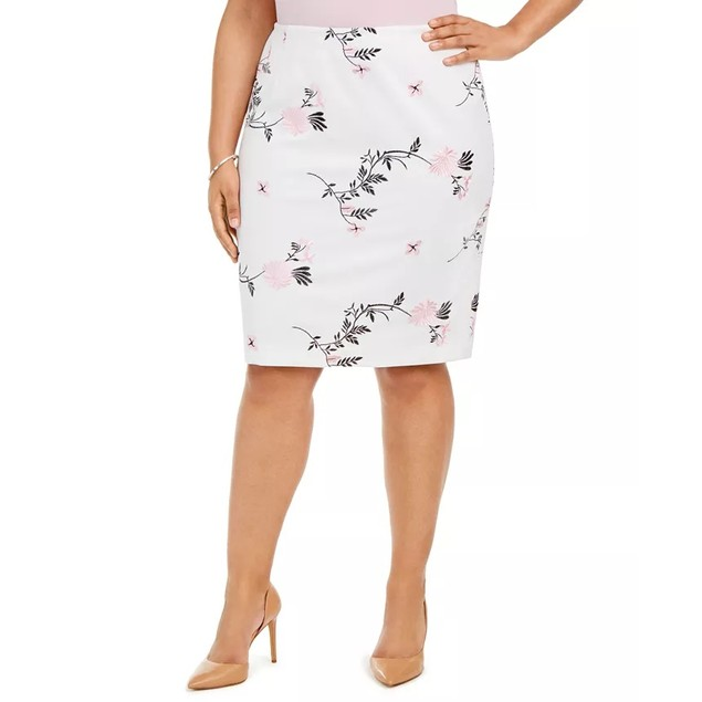 Kasper Women's Plus Embroidered Floral Skirt Pink Size 20W