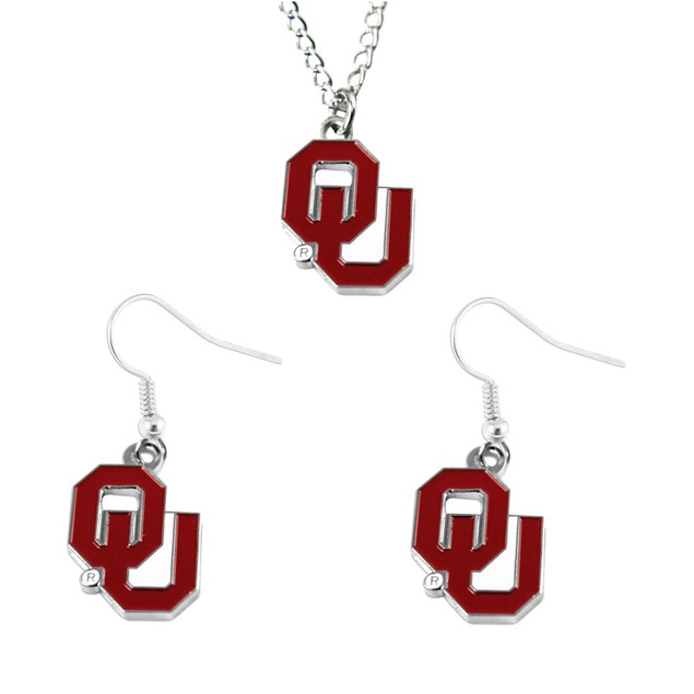 Oklahoma Sooners NCAA Necklace And Dangle Earring Set Charm