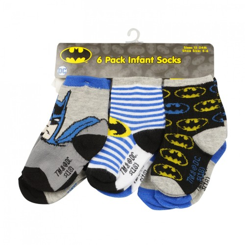 Batman Characters and Symbols 6-Pack of Infant Socks