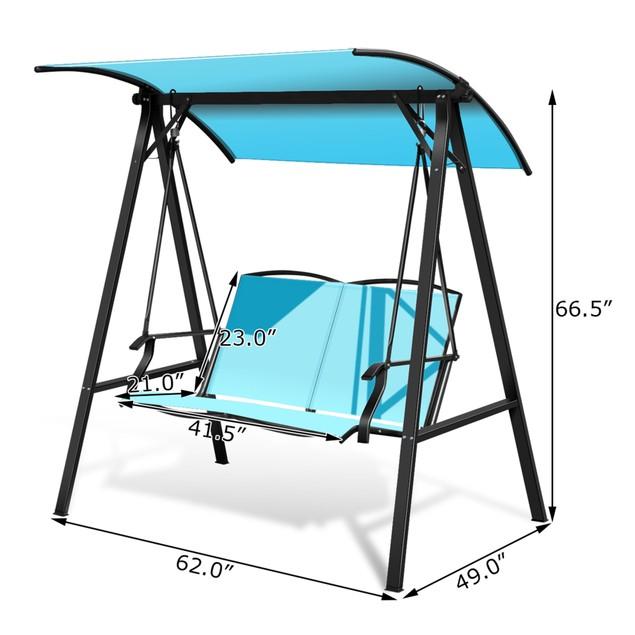 Costway Outdoor 2-Seat Swing Loveseat Canopy Hanging Swing