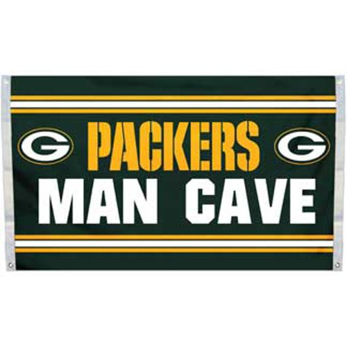 Green Bay Packers Man Cave Flag 3' x 5' Banner 4 Grommets NFL