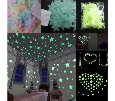 100Pcs Children's Home Decoration Color Star Fluorescent Wall Sticker Was: $15.99 Now: $7.49.