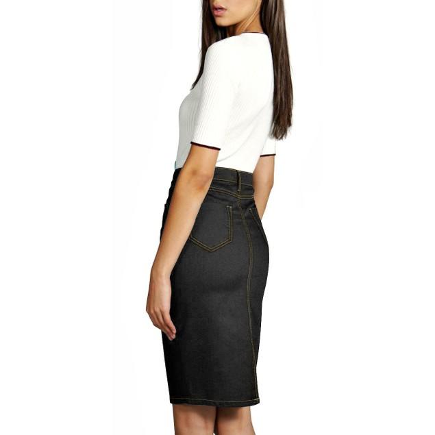 Hybrid & Co Perfect Fit Stretch Denim Pencil Skirt (Reg & Plus)