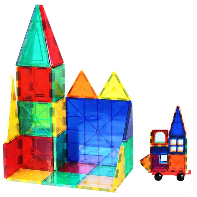 ZUMMY Kids Magnetic Building Blocks Tile Set (100-Piece)