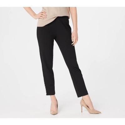 Dennis Basso Luxe Crepe Slim-Leg Pull-On Ankle Pants, Medium, Black