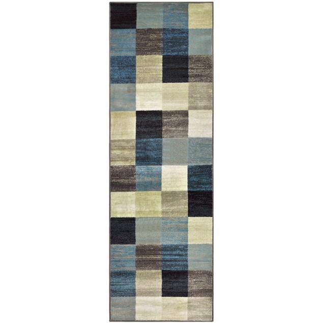 Everdell Indoor Area Rug, Geometric Block Pattern, Jute Backing, Majolica