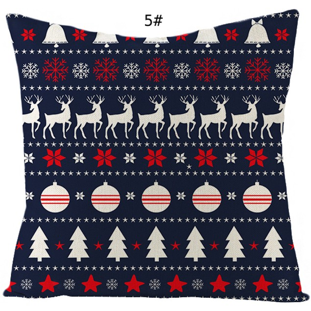 18 x 18 inches Christmas Soft Linen Square Sofa Waist Cushion Pillow Cases